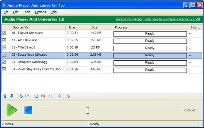 Audio Player and Converter Screenshot