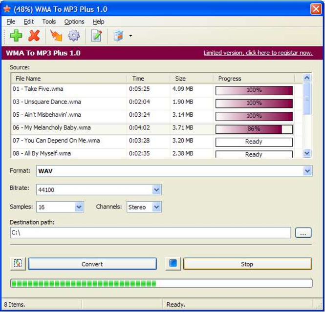 WMA To MP3 Plus Screenshot