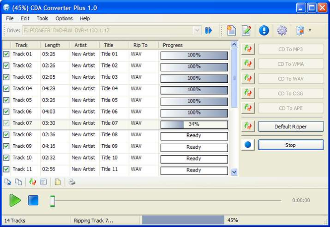 CDA Converter Plus Screenshot