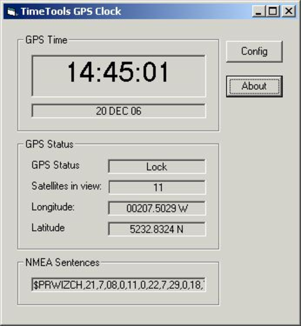 GPS Clock Screenshot