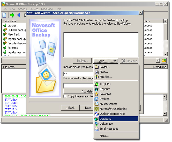 Novosoft Office Backup Professional Screenshot 1