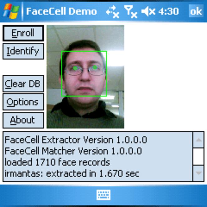 FaceCell EDK Trial Screenshot