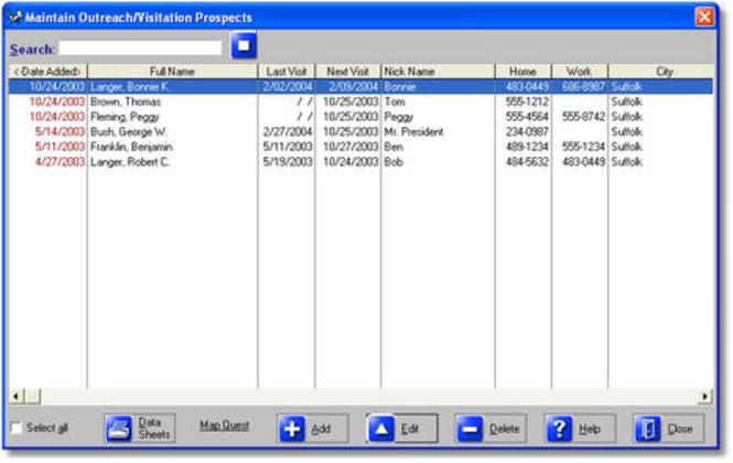 Visitation Manager Screenshot