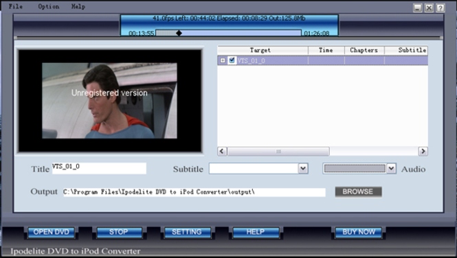 Ipodelite DVD To iPod Converter Screenshot