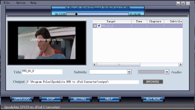 Ipodelite DVD To iPod Converter Screenshot 1