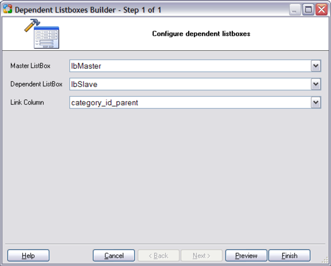 Dependent Listboxes Builder for CodeCharge Studio Screenshot