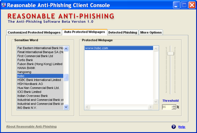 Reasonable Anti-phishing Screenshot