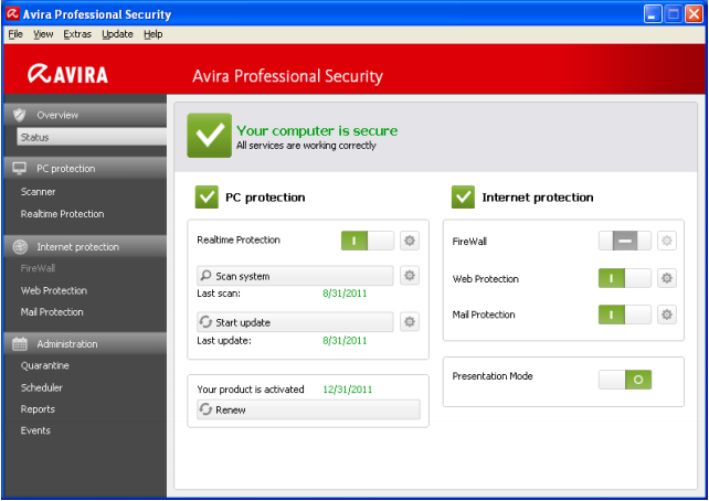 Avira Professional Security 2013 Screenshot