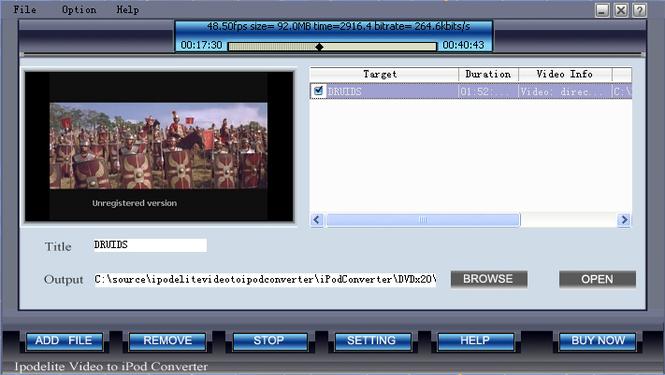 Ipodelite Video To iPod Converter Screenshot