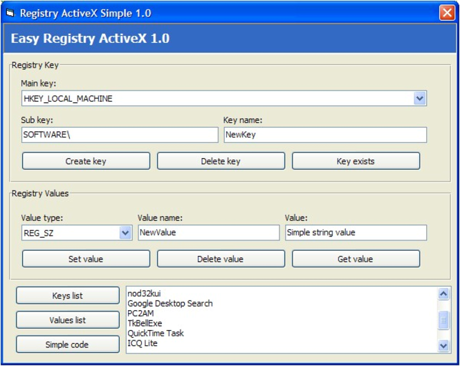 Easy Registry ActiveX (OCX) Screenshot