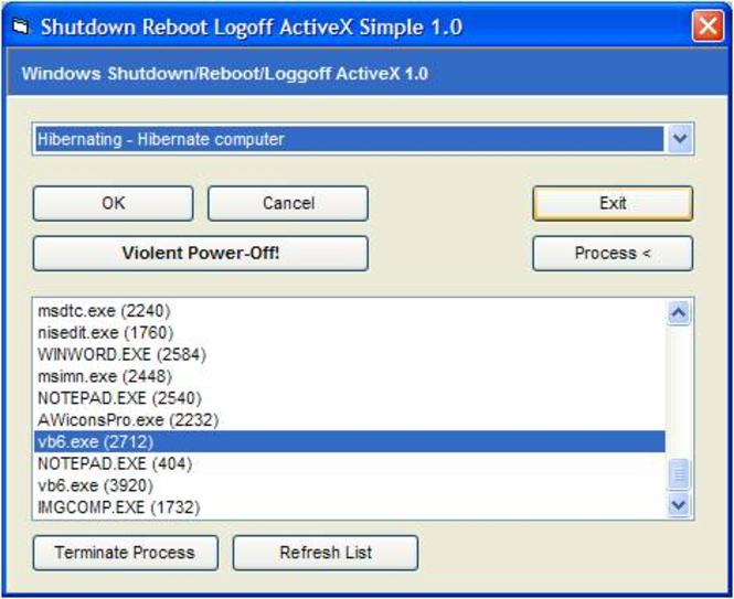 Shutdown Reboot Logoff ActiveX (OCX) Screenshot