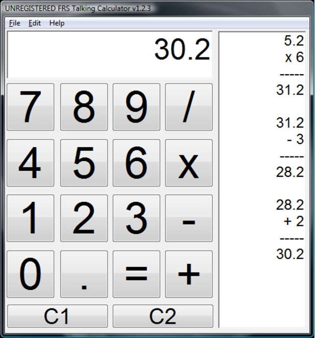 FRS Talking Calculator Screenshot