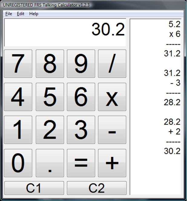 FRS Talking Calculator Screenshot 1