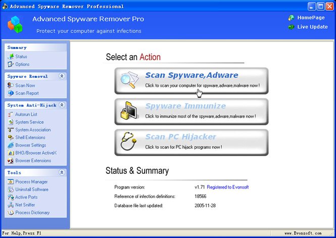 Advanced Spyware Remover Pro Screenshot
