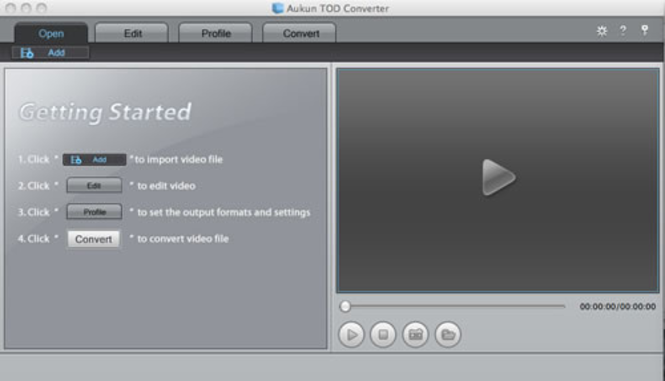 AuKun TOD converter for Mac Screenshot
