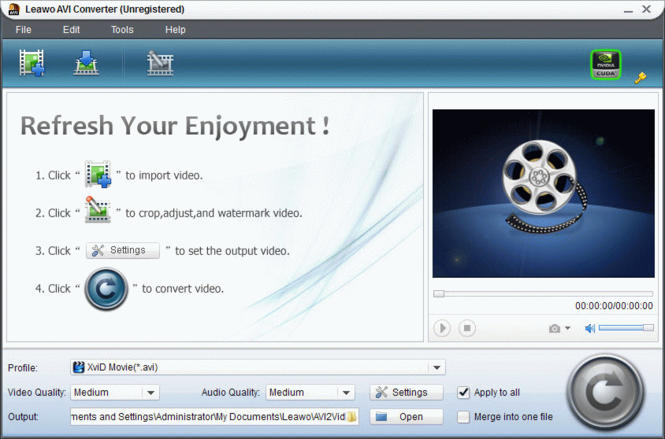 Leawo MOV to AVI Converter Screenshot 1