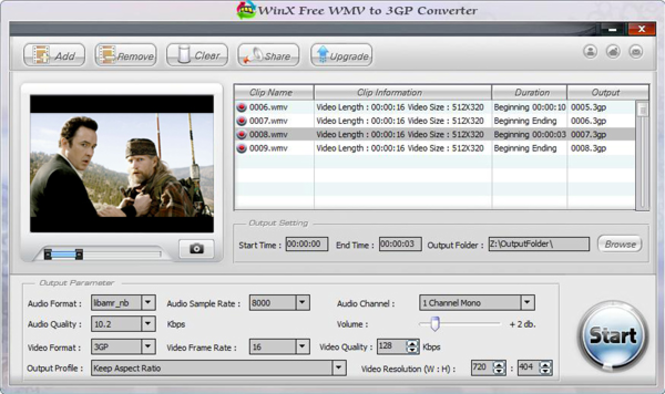 WinX Free WMV to 3GP Converter Screenshot 2