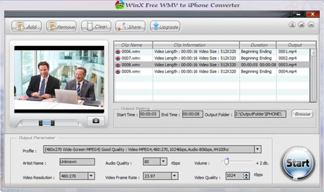 WinX Free WMV to iPhone Converter Screenshot 1