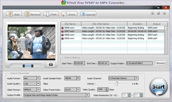 WinX Free WMV to MP4 Converter Screenshot