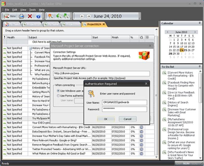 Organasis MyTasker EPM Screenshot