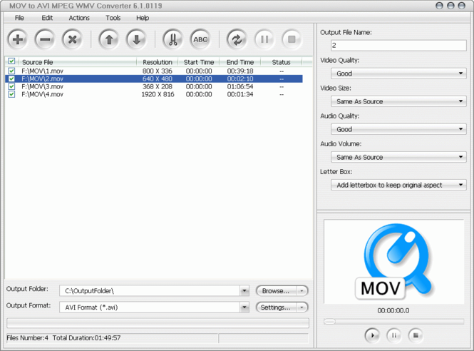 MOV to AVI MPEG WMV Converter Screenshot