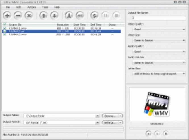 Ultra WMV Converter Screenshot