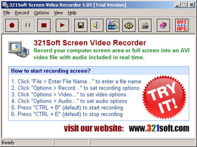 321Soft Screen Video Recorder Screenshot 1