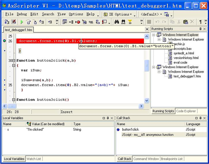 AxScripter Screenshot