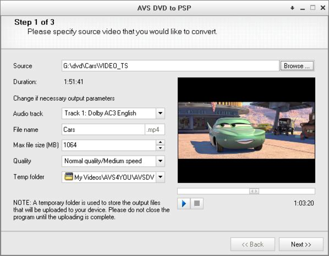 AVS DVD to PSP Screenshot