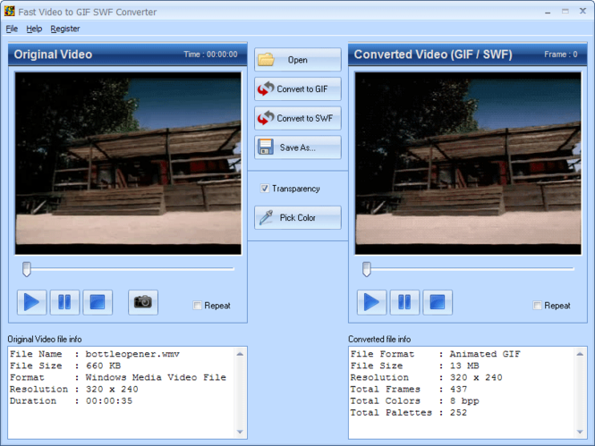 Fast Video to GIF SWF Converter Screenshot 1