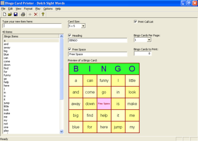 Bingo Card Printer Screenshot 1