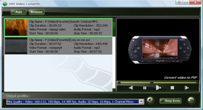 ViVi PSP Converter Screenshot