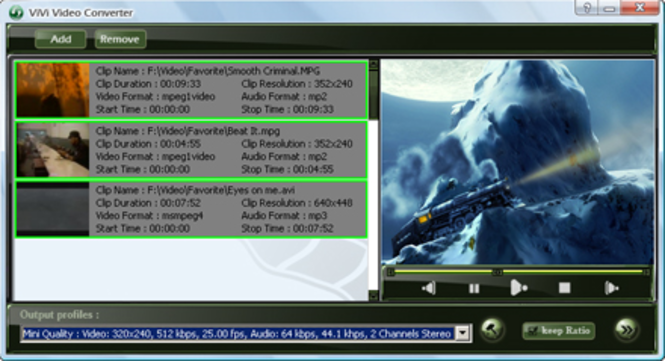 ViVi 3GP PSP iPod MP4 Video Converter Screenshot
