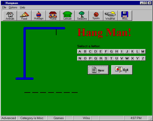 Vb Hangman VbGames Screenshot