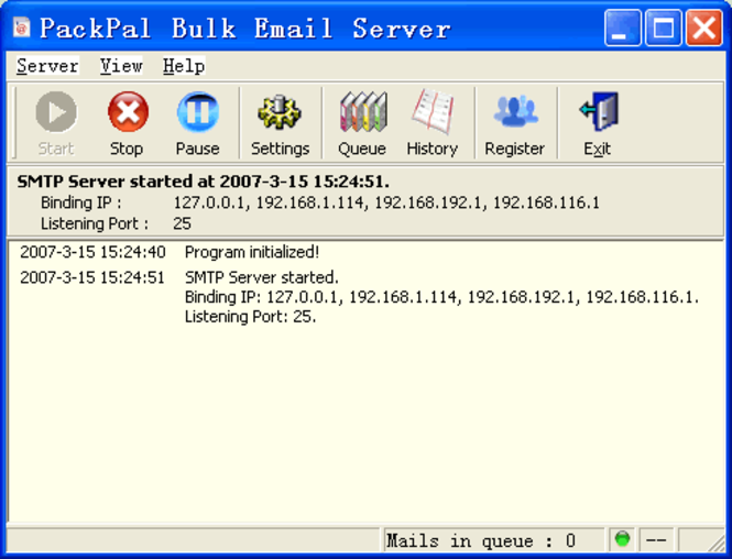 PackPal Bulk Email Server Screenshot 1