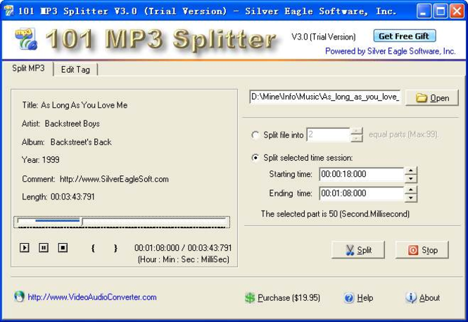 101 MP3 Splitter Screenshot 1