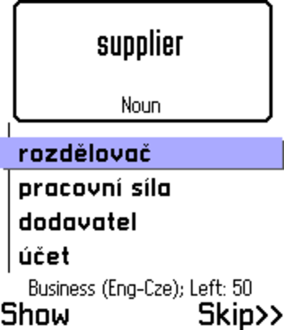 ECTACO FlashCards English <-> Czech for Nokia Screenshot