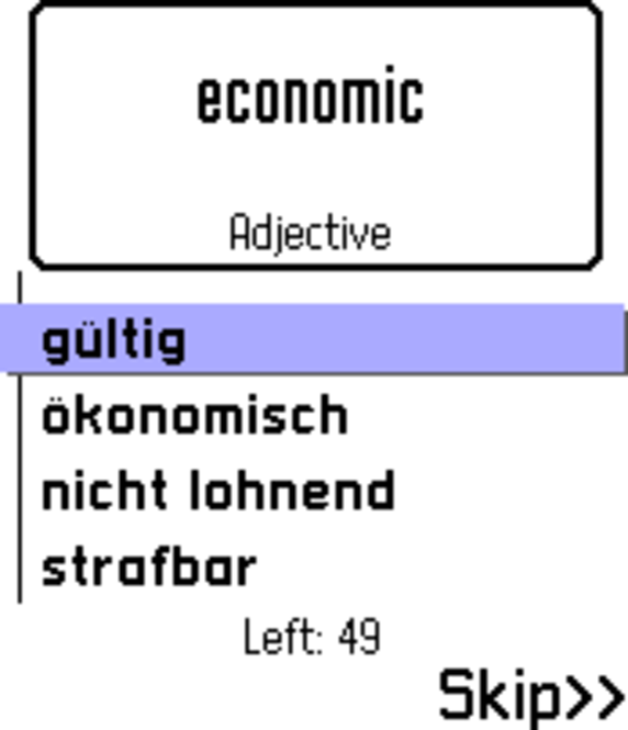 ECTACO FlashCards English <-> German for Nokia Screenshot 1