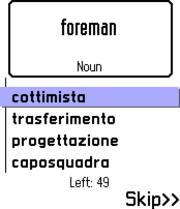 ECTACO FlashCards English <-> Italian for Nokia Screenshot