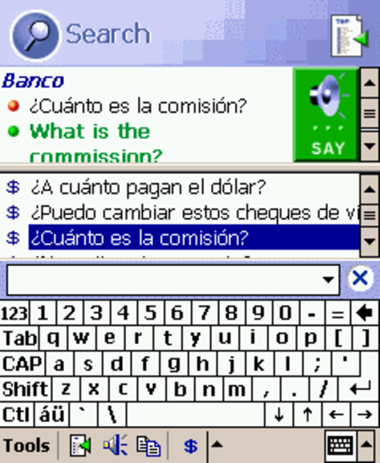 ECTACO PhraseBook English <-> Spanish for Pocket PC Screenshot
