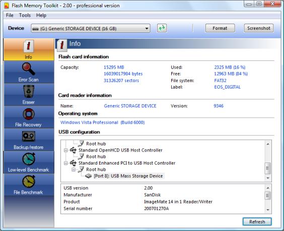 Flash Memory Toolkit Screenshot 1