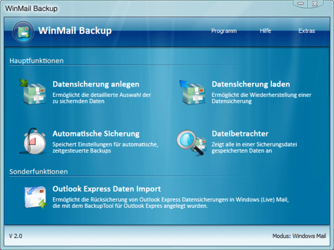 WinMail Backup - Windows Mail Databackup Screenshot