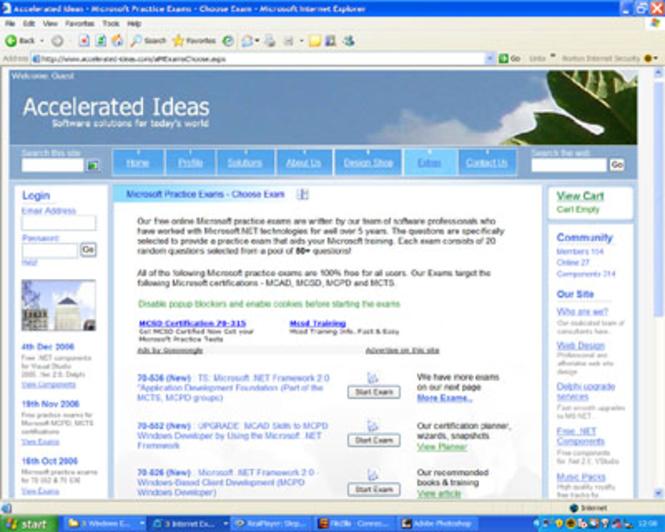 MS Certification - Practice Exam 70-290 Screenshot