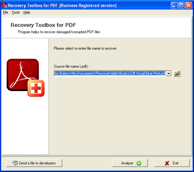 Recovery Toolbox for PDF Screenshot