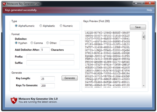 Key Generator Lite Screenshot 1