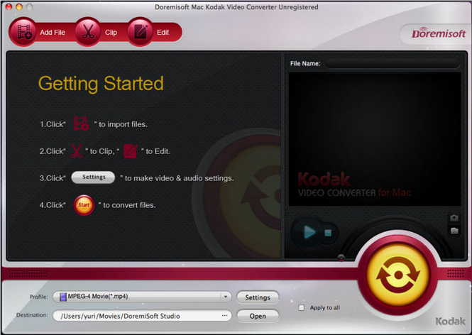 Doremisoft Mac Kodak Video Converter Screenshot