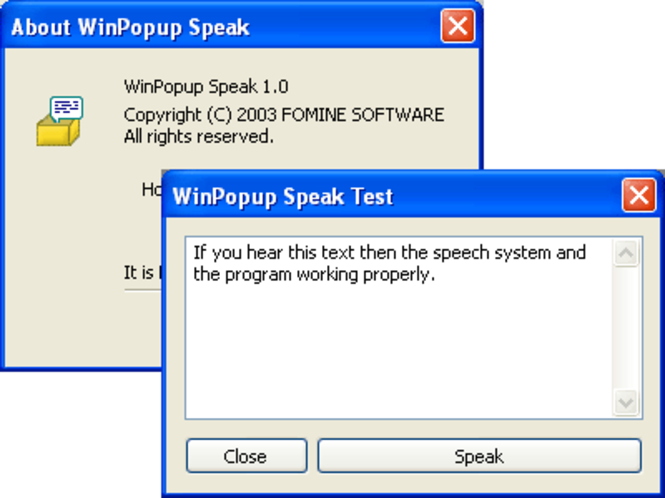 WinPopup Speak! Screenshot