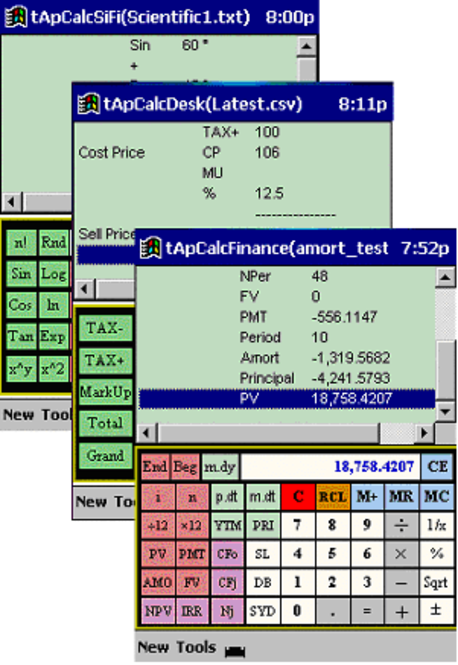 tApCalc Suite, Financial,Accounting,Scientific tape Calculators (Arm,xScale) Screenshot