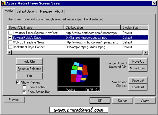 Active Media Player Screen Saver Screenshot