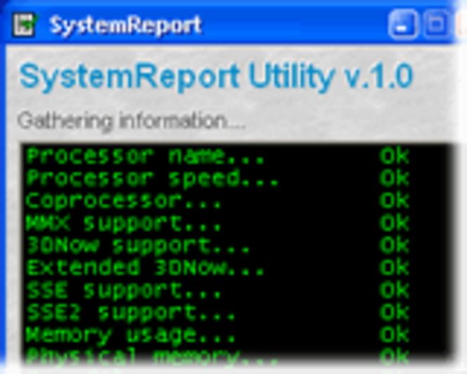 SystemReport Screenshot